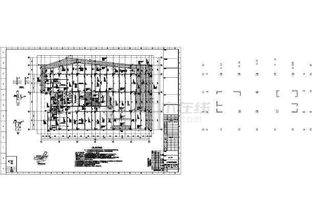 [浙江]两栋地上八层框架剪力墙结构办公大厦结构施工图(2015年06月出图)-图3