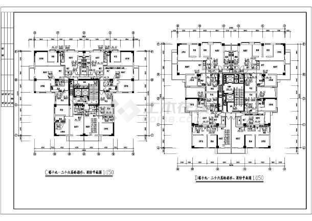 某地上二十六层商住楼给排水成套图纸(高82米)-图3