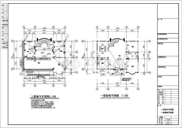 某三层别墅给排水电气图纸-图1