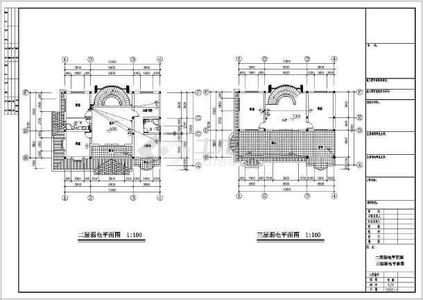 某三层别墅给排水电气图纸-图2