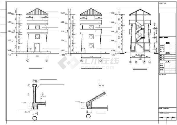 [浙江]四层山地公园框架结构了望塔结构施工图(含建筑图)-图一