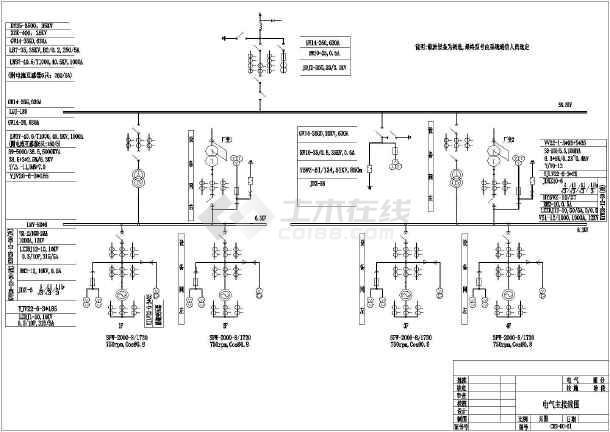 某电站电气一次设计控制原理图-图1