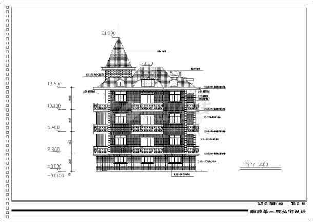 [福建]950平四层框架结构别墅结构施工图(含建筑图)-图3
