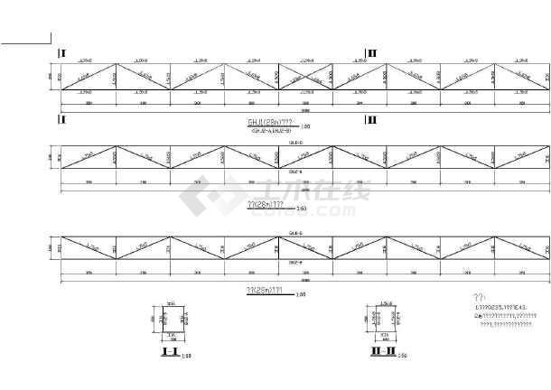 某28米跨钢结构桁架图纸,共2张图-图一