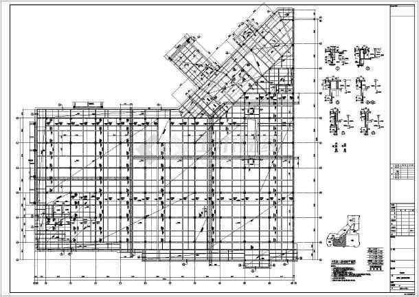 【河南】地上四层框架结构F区商业区结构设计施工图-图一