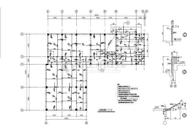 某三层框架教学楼全套建筑及结构设计施工图-图二
