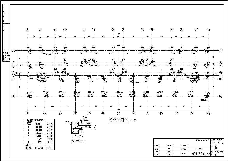 某住宅基础图纸(墙柱平面定位图,共8张图)图片3