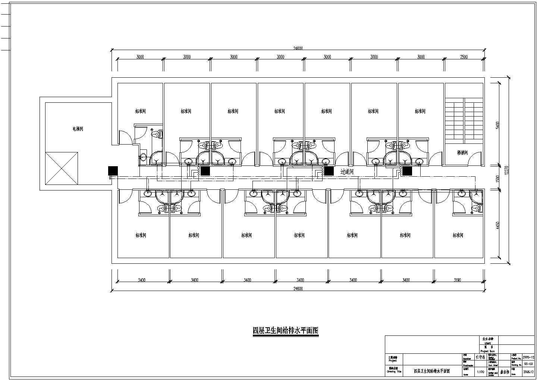 某四层酒店室内卫生间给排水设计施工图图片2