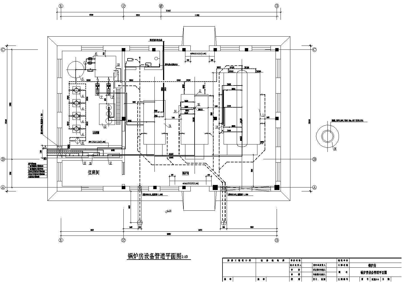 某锅炉房管道布置及采暖施工图图片1