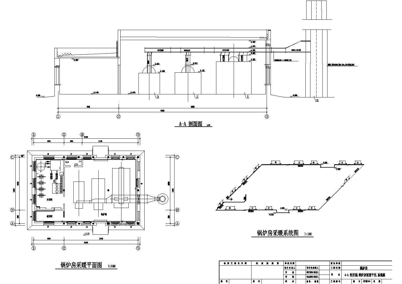 某锅炉房管道布置及采暖施工图图片3
