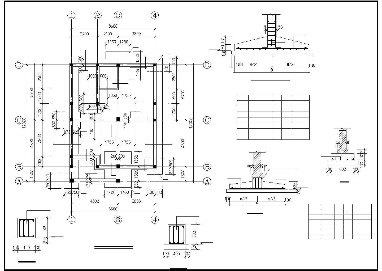 某二层框混别墅结构设计图图片1