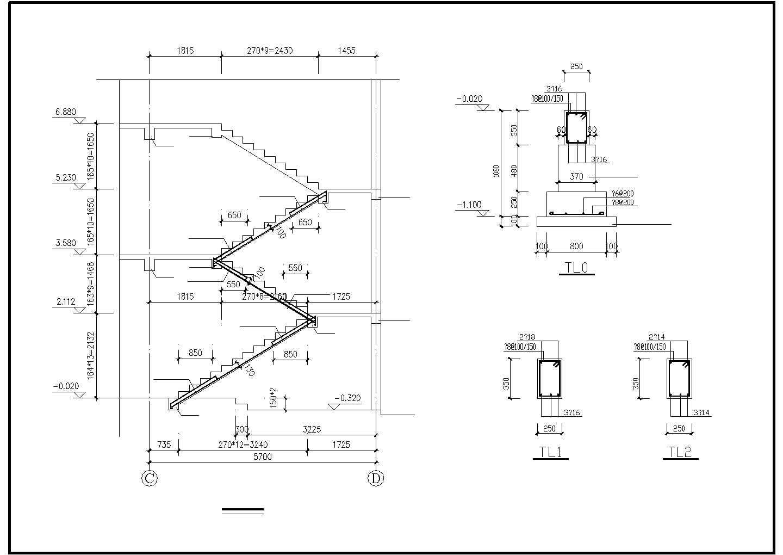 某二层框混别墅结构设计图图片2
