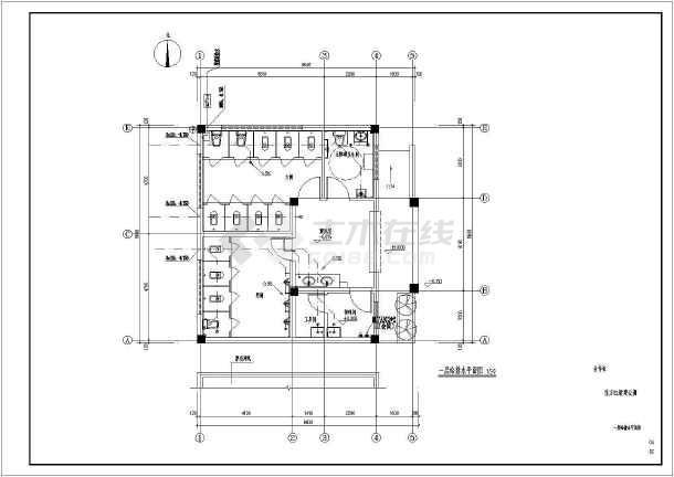 某城市东方红新建公厕给排水施工图(建筑基地面积86平方米)-图一