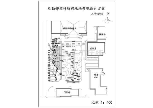 军队宾馆前广场全套园林施工图-图二