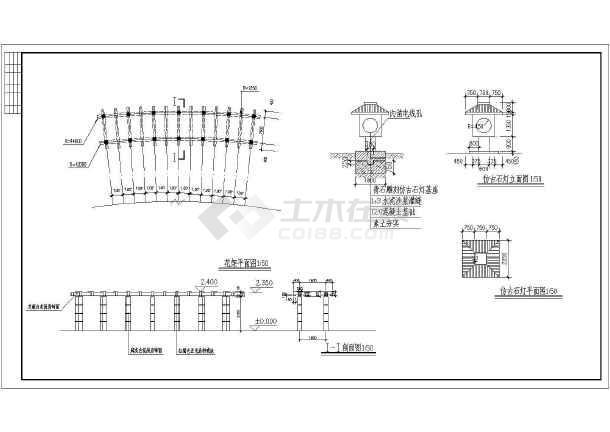 点击查看园林景观树池牌楼景观施工图第2张大图