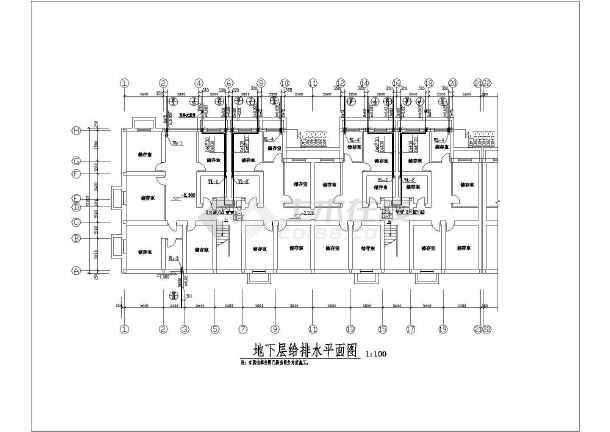 某2177㎡地上六层住宅小区给排水图-图二