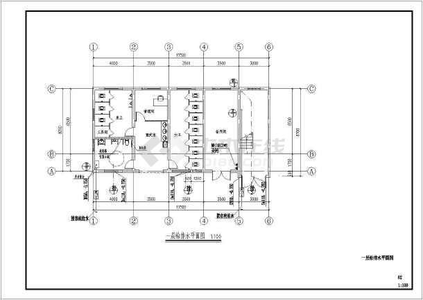 某三层庙服务及家宴中心给排水施工图-图一