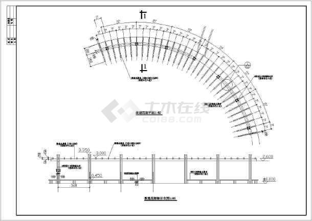 弧形景观花架设计施工图-图一
