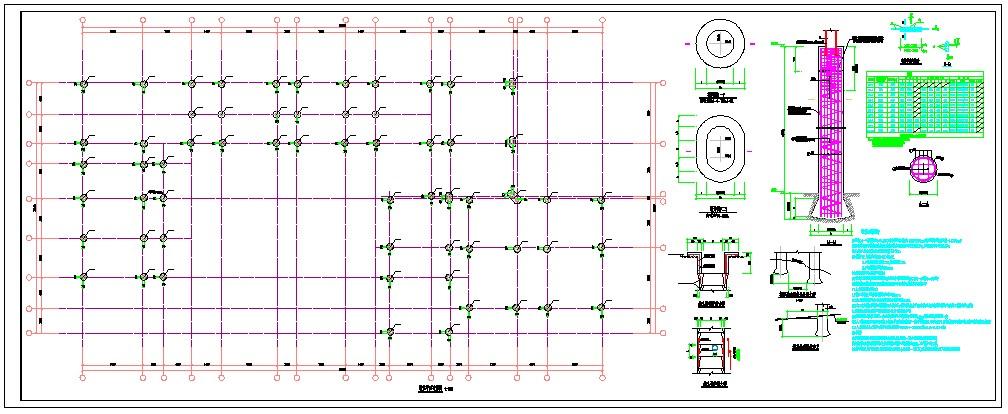 某地区人工挖孔墩基础平面布置及墩基础大样及说明图片1