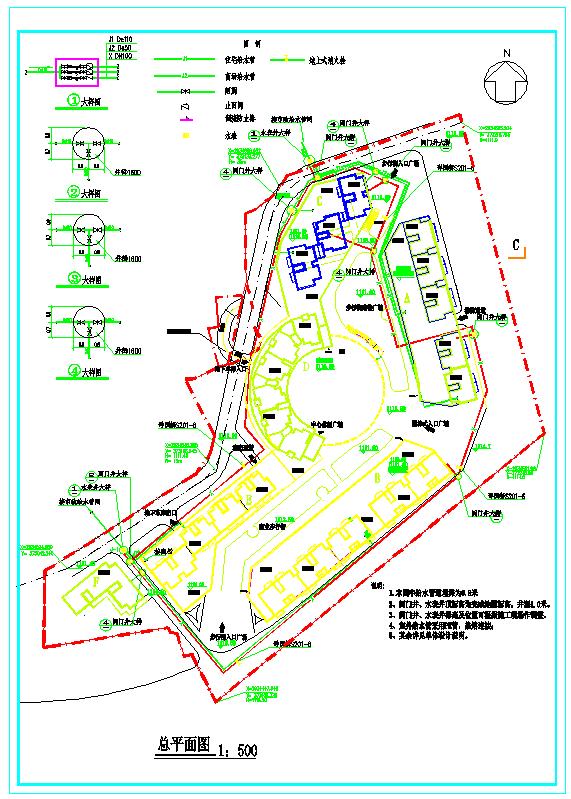 贵州某小区给排水总平面图图片1