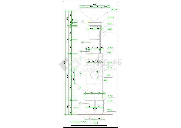 广场发光灯柱效果及施工图-图二