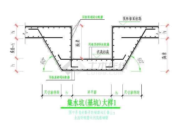 通用集水坑(基坑)大样CAD图纸-图一