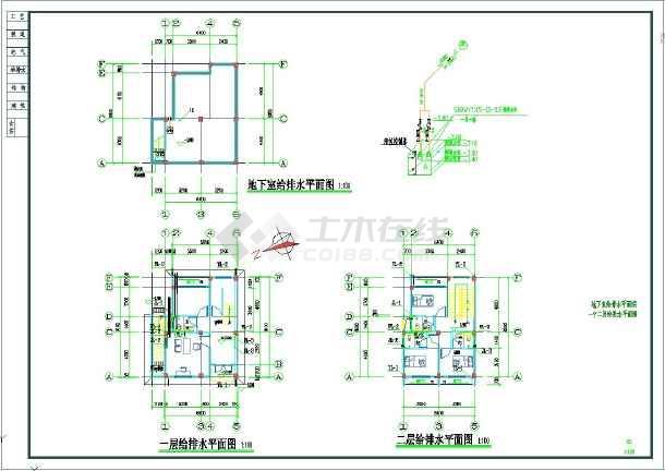 某三层框架别墅管理用房项目给排水图纸-图一