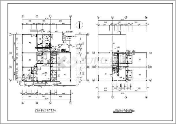 C2型别墅给排水设计cad图-图二