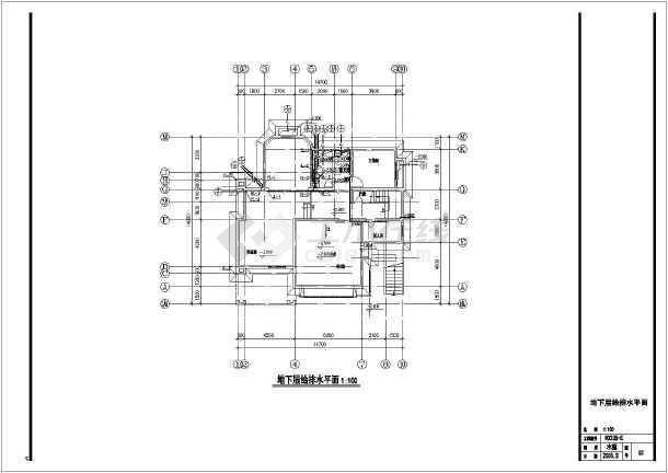 E型别墅给排水平面设计cad图-图一