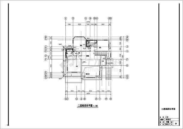 E型别墅给排水平面设计cad图-图二