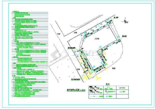 华平县民利村文化礼堂室外给排水设计施工图-图一