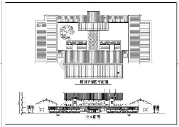 园林会所设计cad图-图二