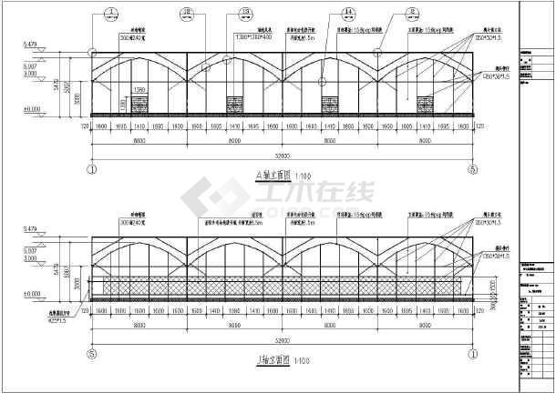 点击查看某地温室标准薄膜连栋大棚全套施工设计详图(含建筑、结构、给排水和电气专业)第1张大图