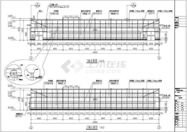 点击查看某地温室标准薄膜连栋大棚全套施工设计详图(含建筑、结构、给排水和电气专业)第2张大图