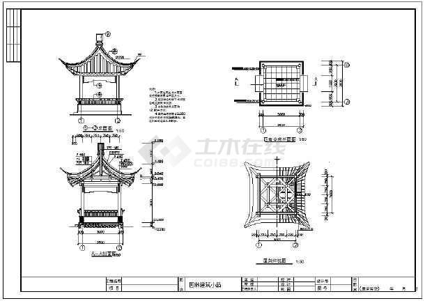 整理多套园林古亭CAD图纸(八角六角亭)-图二
