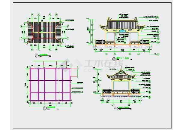 中式园林水榭CAD施工详图-图二