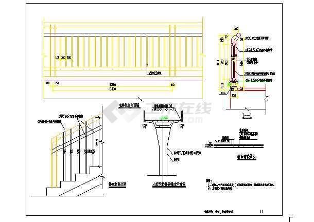 钢结构天桥设计cad图-图二