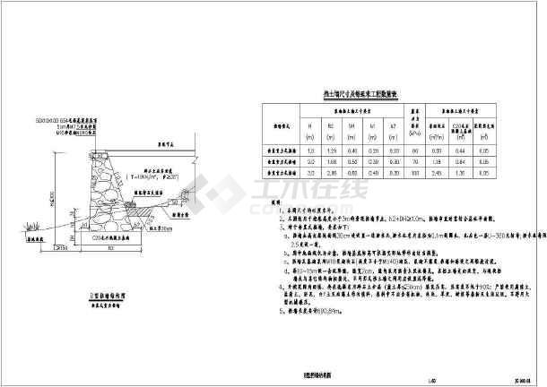 点击查看一份详细的挡土墙结构CAD设计图第2张大图