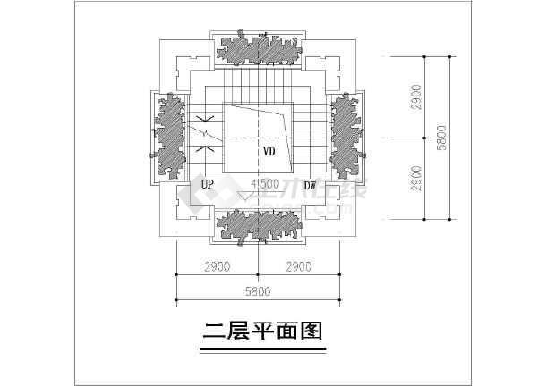 某钟楼设计cad方案(观景平台层平面图)-图二