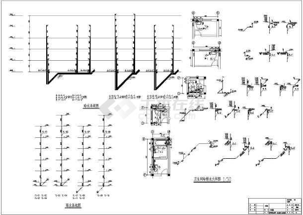 某六层单元住宅楼给排水施工设计cad图-图二