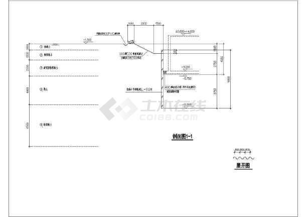某广场工程基坑围护设计cad图  SMW工法与放坡+土钉墙复合-图二