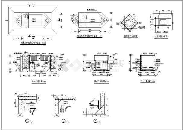 点击查看浙江某地圆形取水泵房建筑、结构施工图第2张大图