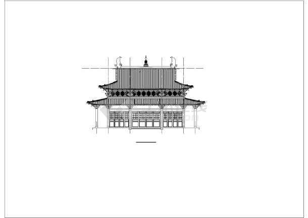 小型寺庙古建结构cad图-图二