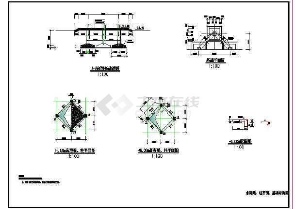 12m高50m3水塔设计CAD图纸-图二