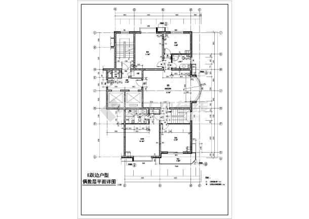 [方案]某高层住宅户型设计cad图-图二