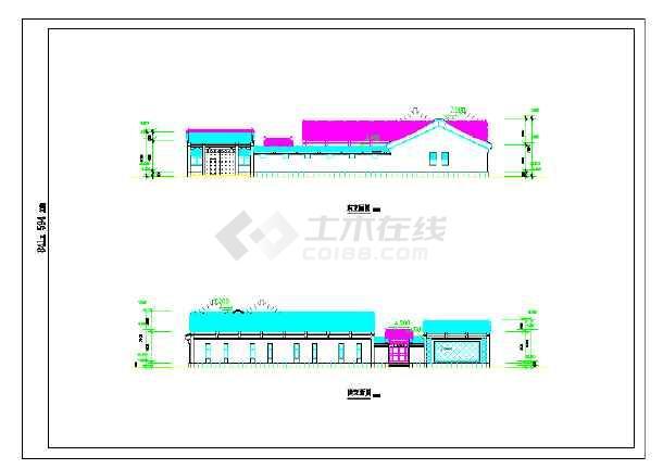 中式仿古办公楼建筑施工图-图二