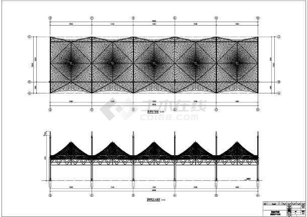 某中学膜结构看台设计CAD施工图-图一
