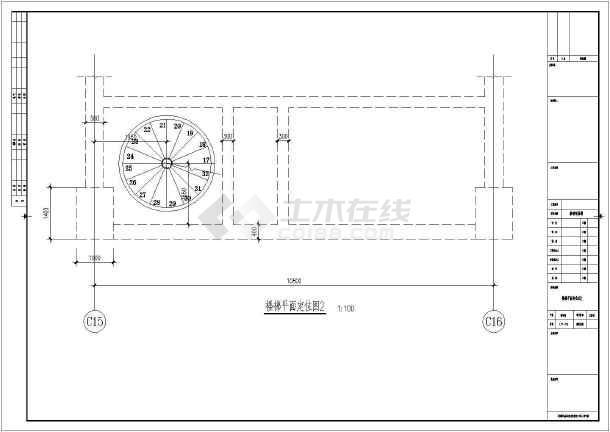 某钢结构旋转楼梯节点构造详图-图二