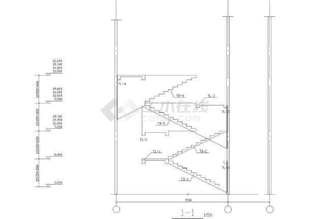 某地上六层中学教学楼毕业设计结构图-图一