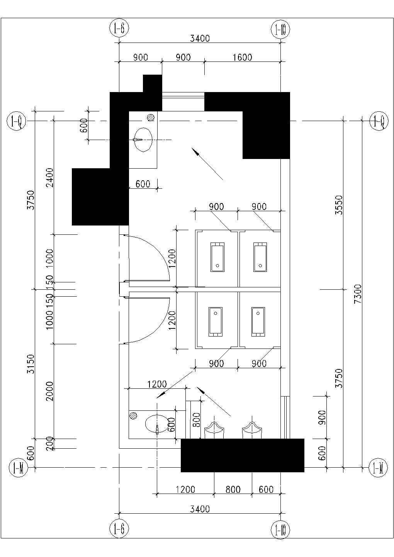 [图块/节点][深圳]某湾畔住宅小区楼群-裙房卫生间大样图片2